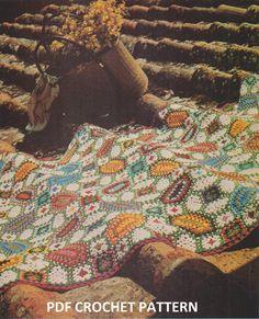 🍂🌻🍂 Padrão de Mosaico Afegão Crochê Clássica Quadro   -  /  🍂🌻🍂 Standard Afghan Crocheting  Classic table Mosaic -
