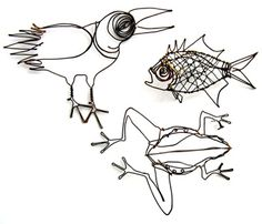 "Thomas Hill. F is for Frog, Fish, Fowl  Pins in mild steel wire. Frog: 6.3 x 5 x 2"" Fish: 5 x 3 x 1"" Fowl: 7.9 x 5"""