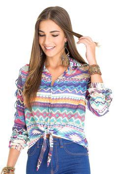 Camisa detalhe tressê estampa dylan - Blusas | Dress to