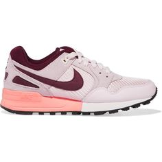 Nike Air Pegasus 89 leather and suede sneakers (£65) ❤ liked on Polyvore featuring shoes, sneakers, lace up sneakers, suede leather shoes, retro shoes, leather lace up sneakers and nike