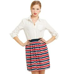 Classic Oxford Shirt with Striped Skirt