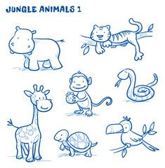 Vektor Cute cartoon jungle safari animals hippo t Bird Drawings, Cartoon Drawings, Easy Drawings, Animal Drawings, Drawing Cartoon Animals, Cartoon Jungle Animals, Safari Animals, Jungle Safari, Cartoon Giraffe
