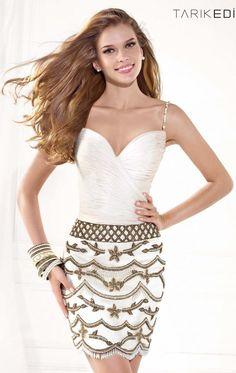 2014-2015 Parti Ve Kokteyl Elbisesi Modelleri Tarık Ediz Beyaz Renkli Taş İşlemeli İpli Kısa Elbise Modeli