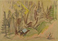 Ernst Ludwig Kirchner, Bergwald III (Mountain forest III), 1918/1919, Auction 943 Modern Art, Lot 100a #ernstludwigkirchner #ludwigkirchner #kirchner #thebridge #diebrücke #lempertz #kunst #art #auctioneers #auction #modernart #modernekunst #dresden #mountainforest ##colourcrayon #drwaing #greenpaper