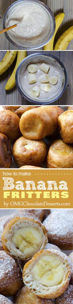 Banana Fritters Couple of bananas extra? The time is for delicious Banana Fritters. Perfect for any occassion! Banana Recipes, Fruit Recipes, Sweet Recipes, Dessert Recipes, Cooking Recipes, Picnic Recipes, Cooking Tips, Cake Recipes, Think Food