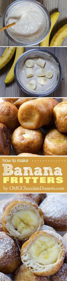 Banana Fritters | OMGChocolateDesserts.com | #banana #fritters #desserts