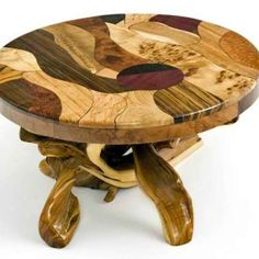 Burl Wood Coffee Table with Juniper Base