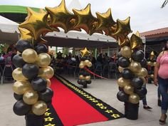 Hollywood Birthday Parties, Hollywood Theme, Graduation Crafts, Graduation Decorations, Dance Decorations, 50 And Fabulous, White Balloons, Backdrops For Parties, Grad Parties