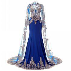 Long Sleeve Prom Dress Muslim Evening Dress ,Mermaid Formal Dress... (3 060 ZAR) ❤ liked on Polyvore featuring dresses, gowns, long dress, white dress, white prom dresses, royal blue bridesmaid dresses, white bridesmaid dresses and formal dresses