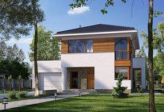 Projekt domu piętrowego E-126 o pow. 150 m2 z garażem 1-st., z dachem kopertowym, z tarasem, z wykuszem, sprawdź! Home Fashion, Facade, Architecture Design, Backyard, House Design, Fire, Mansions, House Styles, Outdoor Decor