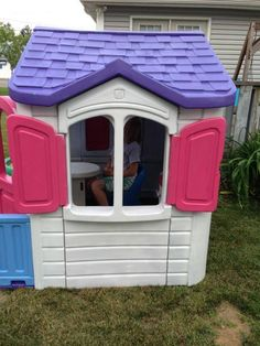 I bought this Step2 playhouse froma friend and repainted it with Rustoleum x2 spray paint that was good for plastic too.