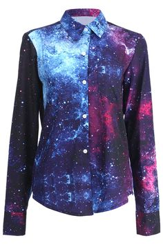 Single-breasted Stars Print Shirt