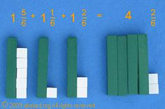 One and five sixth and one and one sixth and one and two sixths equals four and two sixths