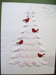 Memory Box dies- Frosted Christmas Tree 98668 Resting Birds 98527 Rizza Snowflake Love the white on white and the pop of color with the birds. Homemade Christmas Cards, Christmas Cards To Make, Xmas Cards, Homemade Cards, Handmade Christmas, Holiday Cards, Christmas Crafts, Winter Christmas, Memory Box Cards