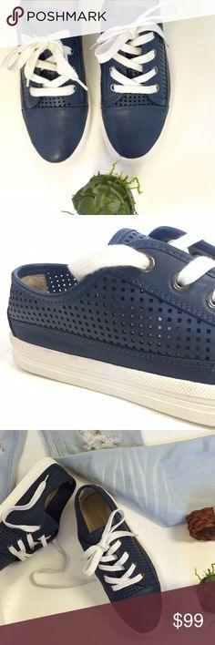 •NEW•Calvin Klein Jeans Marigold Sneakers  'Navy Details •Available Sizes 6.5 & 10 US • 100% leather • Rubber Sole • Navy Blue leather. • BRAND NEW • Ask for further question. • 👟❤️• Calvin Klein Collection Shoes Sneakers