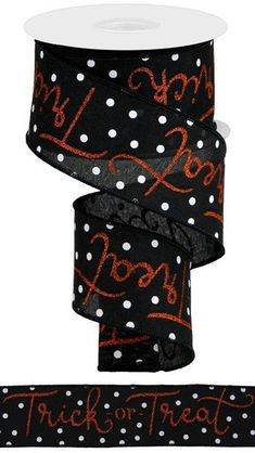 """Excited to share this item from my #etsy shop: Black Orange and White Trick or Treat wired ribbon, Halloween decor, Halloween ribbon, 2.5"""" black orange ribbon, RGA134002 #halloween #black #waysidewhimsy Halloween Ribbon, Cute Halloween, Orange Glitter, Wired Ribbon, Black Canvas, Trick Or Treat, Halloween Decorations, Polka Dots, Bows"""