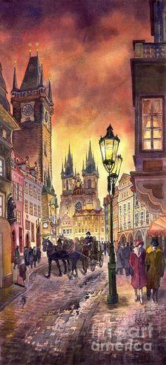 Prague Old Town Squere Painting - Prague Old Town Squere Fine Art Print Yuriy Shevchuk: