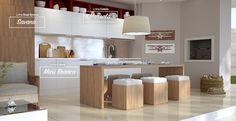 Cozinha decorada com os padrões de MDF Maxi Branco, Savana e leves toques de Marsala. #MDF #decoraçãoMDF #decoração #DesignInteriores #padrõesMDF #homedecor #decoração #cozinha #peçasMDF #guardaroupamdf