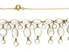15ct Gold Moonstone Drops Necklace  Edwardian (1901 - 1914)