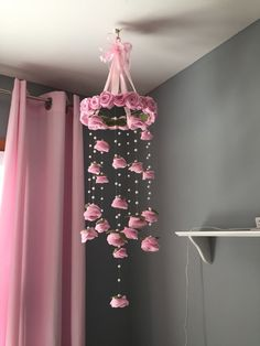 Roses mobile Felt flower roses and pearls baby girl nursery decor Garden pretty Nursery hanging deco