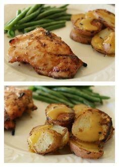 Grilled Honey Mustard Chicken and Red Potatoes | 5DollarDinners.com #glutenfree