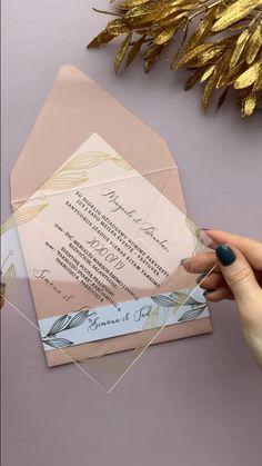 Acrylic Wedding Invitations, Diy Invitations, Wedding Invitation Cards, Wedding Stationery, Wedding Cards, Invitation Wording, Wedding Invitations Diy Handmade, Handmade Wedding Invitations, Wedding Envelopes