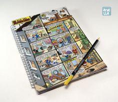 Libreta hecha a mano reciclando 4 páginas de un viejo comic.