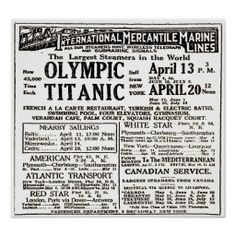 RMS Titanic Passenger Liner Newspaper Ad Poster  $13.35 -  RMS Titanic was a British passenger liner that sank in the North Atlantic Ocean on 15 April 1912 after colliding with an iceberg during her maiden voyage from Southampton, UK to New York City, US. The sinking of Titanic caused the deaths of more than 1,500 people in one of the deadliest maritime disasters in history.