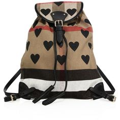 Burberry Chiltern Heart-Print Canvas Check Backpack ($935) ❤ liked on Polyvore featuring bags, backpacks, apparel & accessories, drawstring backpacks, canvas bag, tassel bag, drawstring bags and burberry bags