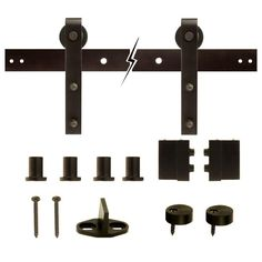 Crown MetalWorks Dark Oil-Rubbed Bronze Decorative Sliding Door Hardware-12590 at The Home Depot
