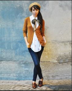 with brown oxfords