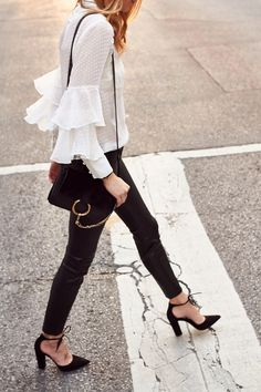 Fashion Jackson // Ruffle Sleeve Top & Faux Leather Pants @nordstom