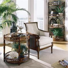 Tropical coastal living room details. Great looking side table made with bamboo!