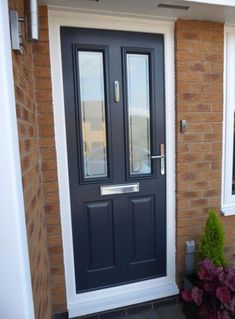 New Anthracite Grey Ludlow Solidor Door Raum House Front Door Grey Composite Front Door, Victorian Front Doors, Front Door Porch, Black Front Doors, Double Front Doors, Exterior Front Doors, House Front Door, Entry Doors, Black Door