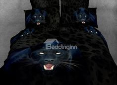 Roaring 3D Panther  Print 4 Piece Bedding Sets