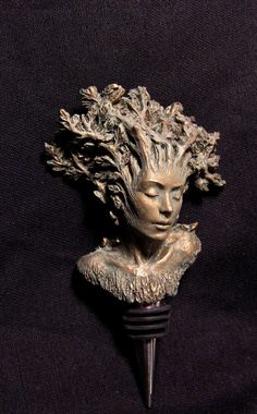 winestopper of a dryad - Base included - Cast in bonded bronze - Stopper is food grade stainless steel and rubber A dryad is a tree nymph or tree spirit Nature Spirits, Wine Stoppers, Green Man, Nymph, Wood Carving, Sculpting, Artsy, Artwork, Inspiration
