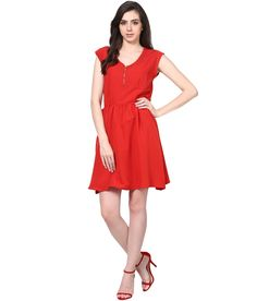 Harpa Red Crepe Partywear Dress