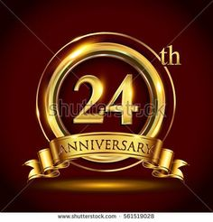 24th golden anniversary logo, twenty four years birthday celebration with gold ring and golden ribbon.