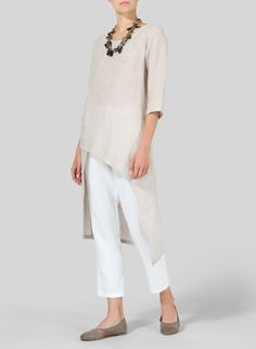 VIVID LINEN - Linen Asymmetrical Tunic-Fluttery, romantic and displaying the refined tailoring of VIVID Linen. Cascading detail for graceful movement with each step.