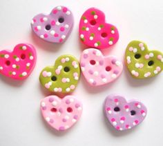 Items similar to Button Tiny Dotted Hearts handmade polymer clay buttons ( 8 ) on Etsy Polymer Clay Miniatures, Fimo Clay, Polymer Clay Projects, Polymer Clay Creations, Polymer Clay Art, Handmade Polymer Clay, Polymer Clay Jewelry, Creation Deco, Button Crafts