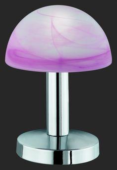 5990 - TRIO - dotyková lampa - matný nikel - červený alabaster
