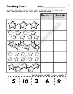 Math freebie: Count it, Glue it and write it