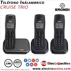 ¡¡Tu hogar u oficina perfectamente comunicado!! Telefóno Inalámbrico BRONDI TRIO CRUISE 3 en 1 http://www.electroactiva.com/brondi-telefono-trio-cruise-negro.html #Elmejorprecio #Telefonía #Electrónica #PymesUnidas