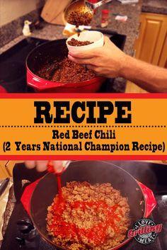 Red Beef Chili Recipe (Two Years National Champion Recipe) Beef Chili Recipe, Chilli Recipes, Mexican Food Recipes, Beef Recipes, Cooking Recipes, Best Cowboy Chili Recipe, School Chili Recipe, Chili Con Carne, Amigurumi