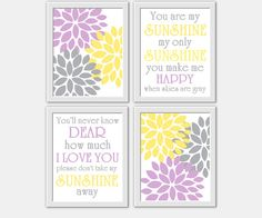 ** CUSTOMIZE THE COLORS TO MATCH YOUR DECOR**    SET OF 4 PRINTS These prints would make a great addition to any Baby Nursery - Childs Room