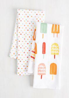 Frosty Shazam Tea Towel Set - Multi, Print, Other Print, Summer, Good, Cotton, Polka Dots, Novelty Print, Daytime Party, Under $20, Hostess