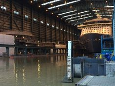 Quantum of the Seas waiting float out after second Anthem of the Seas megablock is floated out of Hall 6 at Meyer Werft on August 12 2014. Photo by Jeroen Houtman