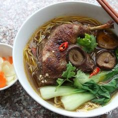 Vietnamese Duck and Egg Noodle Soup (Mi Vit Tiem) borrows heavily from Vietnam's northern neighbor. Mì vịt tiềm is one of my mom's favorites