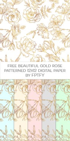 Free Gold outlined Rose Patterned 12x12 digital paper by FPTFY