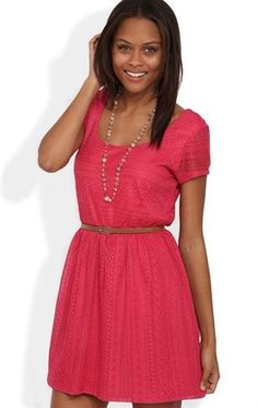 4c3c1a6e2cf1 Deb Shops Crochet  Lace  Dress with Belted Waist and Short Sleeves  24.67  Cute Summer